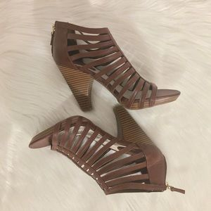 Studio Paolo Strappy Cage Bootie Heels